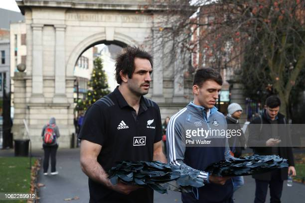 Sam Whitelock of the New Zealand All Blacks and Dublin Hurler Chris Crummey lay a wreath in St Stephens Green in Dubin as part of a Wreath Laying...