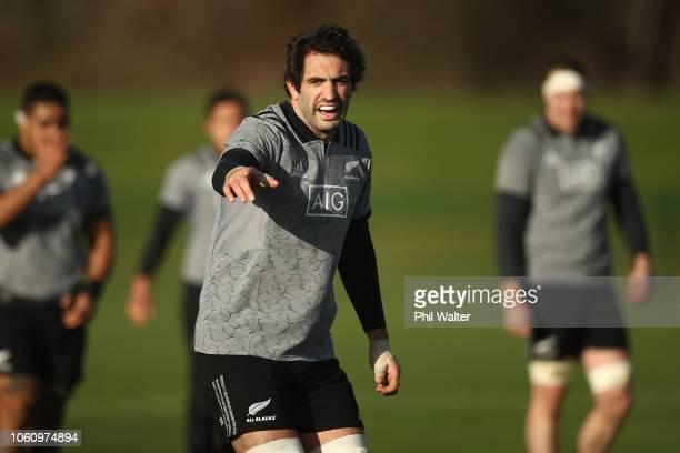 Sam Whitelock of the New Zealand All Blacks during a training session at the Sport Ireland Institute on November 13 2018 in Dublin Ireland