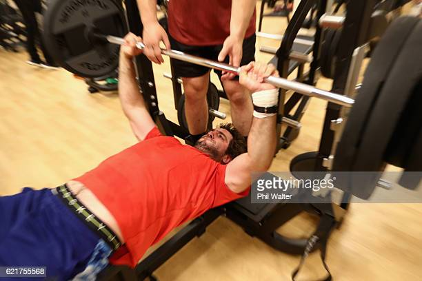 Sam Whitelock of the New Zealand All Blacks exercises during a gym session on November 8 2016 in Rome Italy