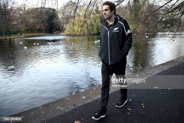 Sam Whitelock of the New Zealand All Blacks walks through St Stephens Green in Dubin as part of a Wreath Laying Ceremony and historical tour on...
