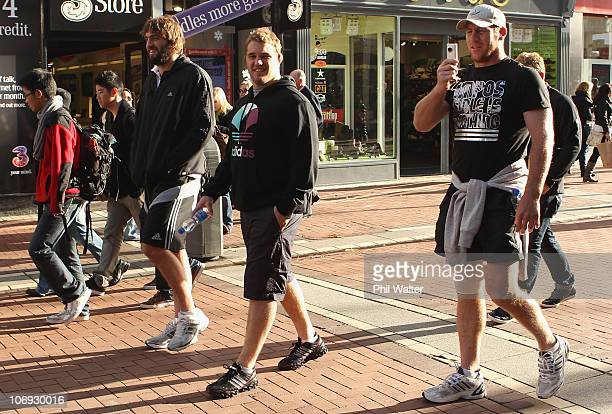 Sam Whitelock Owen Franks and Brad Thorn of the New Zealand All Blacks take a walk around the St Stephens Green shopping area on November 17 2010 in...