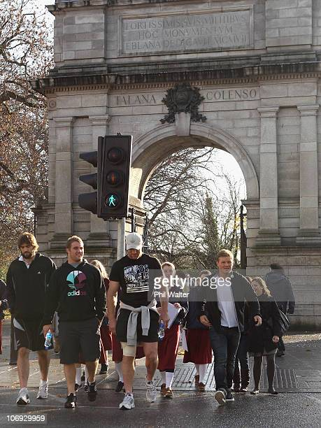 Sam Whitelock Owen Franks Brad Thorn and Daniel Braid of the New Zealand All Blacks take a walk around the St Stephens Green shopping area on...