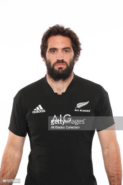 Sam Whitelock poses during a New Zealand All Blacks headshots session on May 21 2018 in Auckland New Zealand
