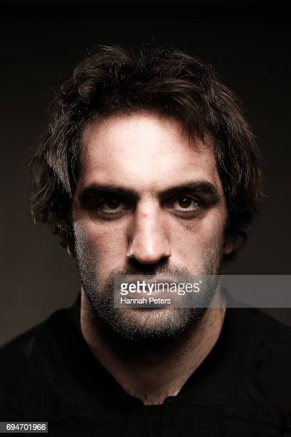 Sam Whitelock poses for a portrait during the New Zealand All Blacks Headshots Session on June 11 2017 in Auckland New Zealand