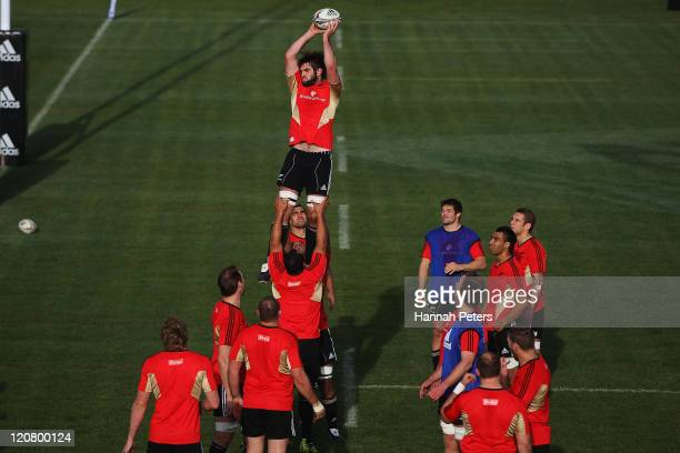Sam Whitelock runs through lineout drills during a New Zealand All Blacks training session at North Harbour Stadium on August 11 2011 in Auckland New...