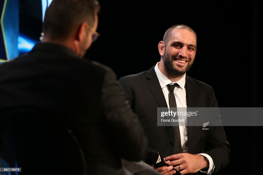 Sam Whitelock wins the Kelvin R Tremain Memorial Player of the Year during the ASB Rugby Awards 2018 at Sky City on December 14, 2017 in Auckland, New Zealand.