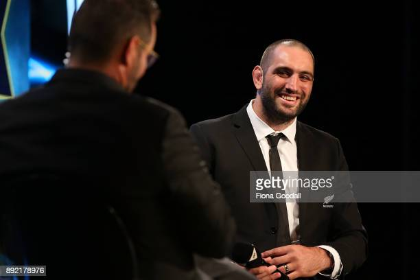 Sam Whitelock wins the Kelvin R Tremain Memorial Player of the Year during the ASB Rugby Awards 2018 at Sky City on December 14 2017 in Auckland New...