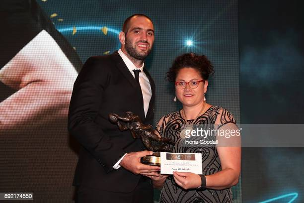 Sam Whitelock wins the Kelvin Tremain Memorial Player of the Year presented by Louisa Wall during the ASB Rugby Awards 2018 at Sky City on December...