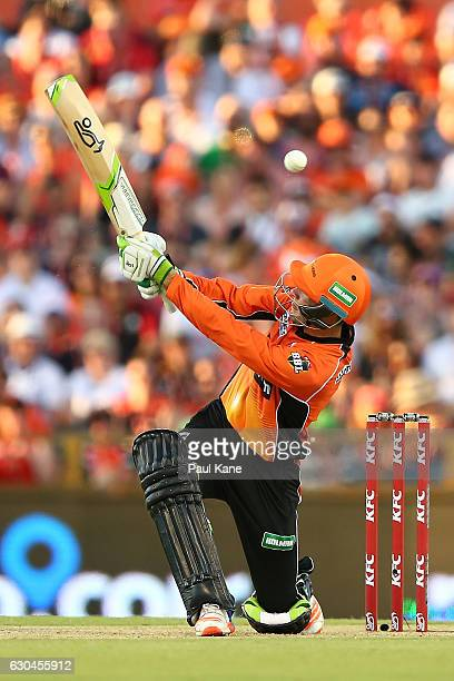 Sam Whiteman of the Scorchers bats during the Big Bash League between the Perth Scorchers and Adelaide Strikers at WACA on December 23 2016 in Perth...