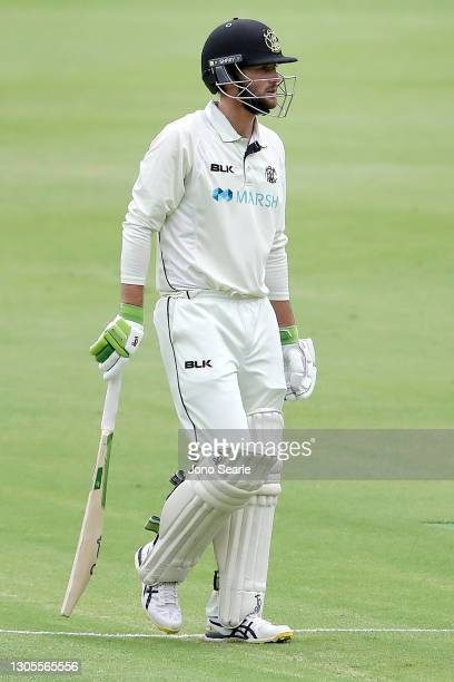 Sam Whiteman of WA is out during day one of the Sheffield Shield match between Queensland and Western Australia at The Gabba on March 06, 2021 in...