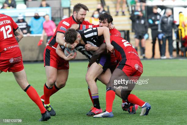 Sam Wilde of Newcastle Thunder is tackled during the BETFRED Championship match between Newcastle Thunder and Widnes Vikings at Kingston Park,...