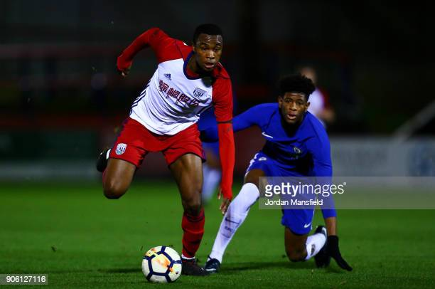 Sam Wilding of West Brom is tackled by Jonathan Panzo of Chelsea during the FA Youth Cup Fourth Round match between Chelsea and West Bromwich Albion...