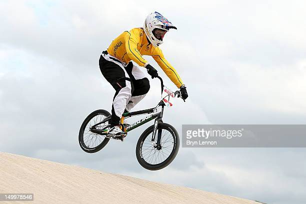Sam Willoughby of Australia competes during the Men's BMX Cycling on Day 12 of the London 2012 Olympic Games at BMX Track on August 8, 2012 in...