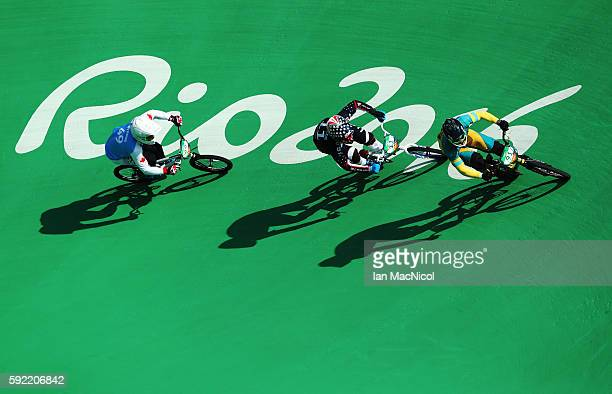 Sam Willoughby of Australia competes in the Men's BMX semi final during day 14 at Olympic BMX Centre on August 19 2016 in Rio de Janeiro Brazil