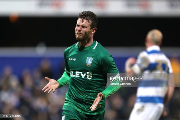 Sam Winnall celebrates after scoring his sides second goal during the FA Cup Fourth Round match between Queens Park Rangers and Sheffield Wednesday...