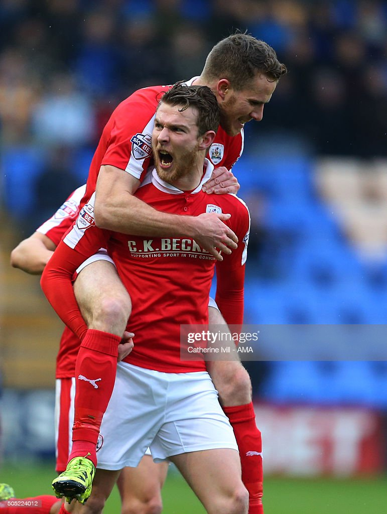 Sam Winnall of Barnsley celebrates after he scores to make it 0-1 during the Sky Bet League One match between Shrewsbury Town and Barnsley at New Meadow on January 16, 2016 in Shrewsbury, England.