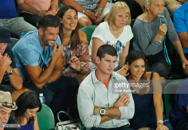Sam Wood and Snezana Markoski along with Former Brisbane Lions AFL footballer Jonathan Brown and his wife Kylie watch the semifinal match between...