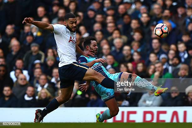Sam Wood of Wycombe Wanderers and Cameron CarterVickers of Tottenham Hotspur compete for the ball during the Emirates FA Cup Fourth Round match...