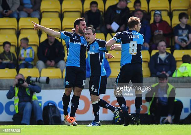 Sam Wood of Wycombe Wanderers celebrates scoring his side's first goal during the Sky Bet League Two match between Torquay United and Wycombe...