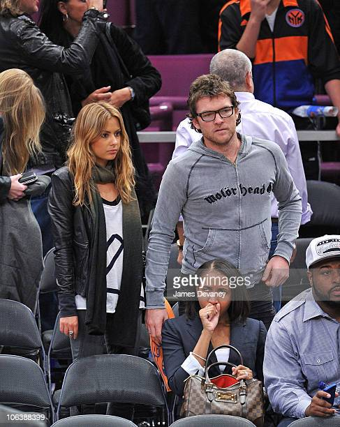Sam Worthington and girlfriend Natalie Mark attend the Trail Blazers vs NY Knicks Game at Madison Square Garden on October 30, 2010 in New York City.
