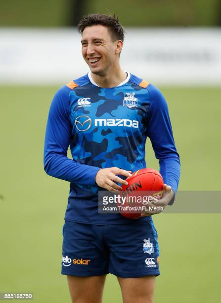 Sam Wright of the Kangaroos in action during the North Melbourne Kangaroos training session at Arden St on December 4 2017 in Melbourne Australia
