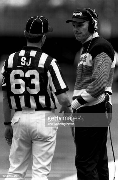 Sam Wyche of the Cincinnati Bengals tals to the referee circa 1980s