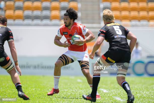 Sam Wykes of Sunwolves moves the ball up against Stormers during the Super Rugby match between Sunwolves and Stormers at Mong Kok Stadium on May 19...