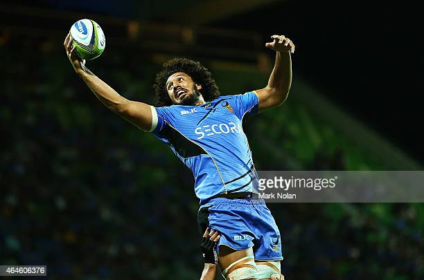 Sam Wykes of the Force contests a line out during the round three Super Rugby match between the Western Force and the Hurricanes at nib Stadium on...