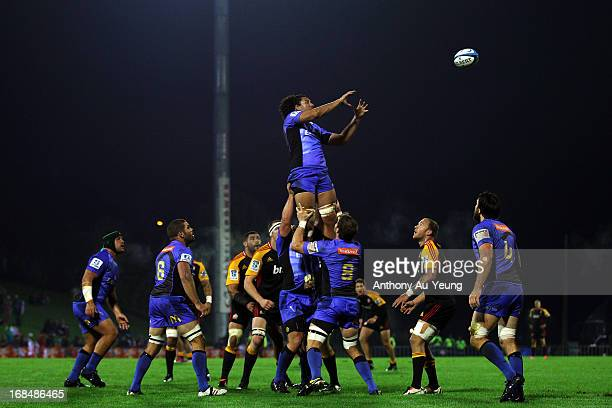 Sam Wykes of the Force takes the lineout ball during the round 13 Super Rugby match between the Chiefs and the Force at ECOLight Stadium on May 10...