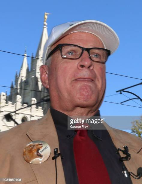 Sam Young former Mormon bishop and founder of Protect the Children hold back emotions as he talks to supporters after he read a letter that informed...