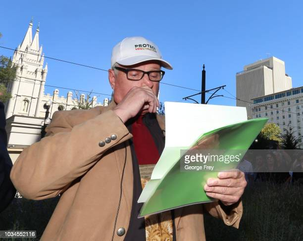 Sam Young former Mormon bishop and founder of Protect the Children holds back his emotions as he reads a letter that informed him that he had been...