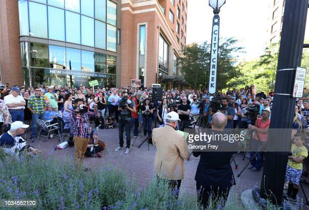 Sam Young former Mormon bishop and founder of Protect the Children talks to several hundred supporters after he read a letter that informed him that...