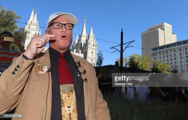 Sam Young former Mormon bishop and founder of Protect the Children talk to supporters after he read a letter that informed him that he had been...