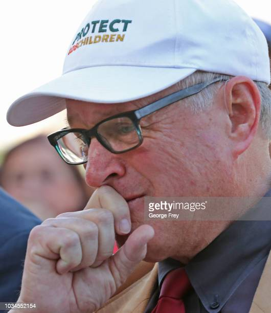 Sam Young former Mormon bishop and founder of Protect the Children holds back his emotions after he read a letter that informed him that he had been...