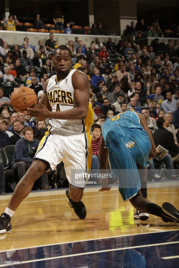 Sam Young #4 of the Indiana Pacers does the shake and bake vs the New Orleans Hornets on November 21, 2012 at Bankers Life Fieldhouse in Indianapolis, Indiana.