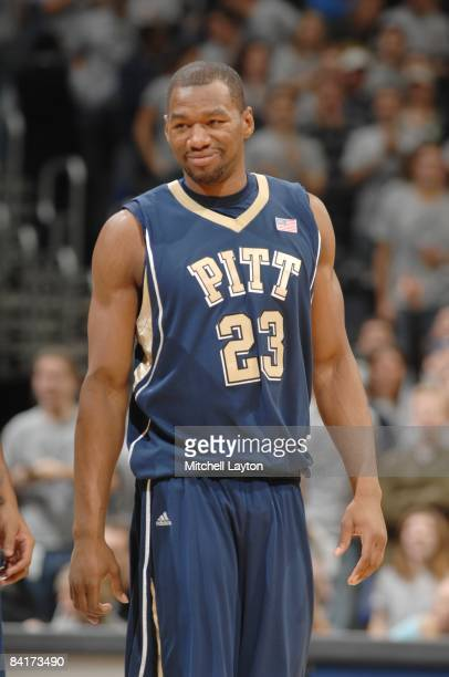 Sam Young of the Pittsburgh Panthers smiles during a college basketball game against the Georgetown Hoyas on January 3, 2009 at Verizon Center in...