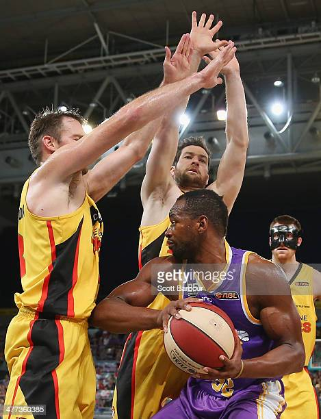 Sam Young of the Tigers controls the ball during the round 21 NBL match between the Melbourne Tigers and the Sydney Kings at Hisense Arena in March 9...