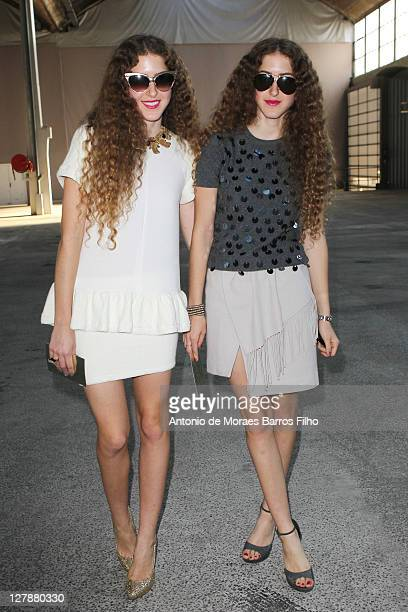 Sama Abu Khadra and Haya Abukhadra attend the Sonia Rykiel Ready to Wear Spring / Summer 2012 show during Paris Fashion Week at Halle Freyssinet on...