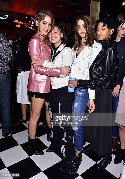 Sama Abu Khadra guest Haya Abu Khadar and Willow Smith attend the I Love Coco Backstage Beauty Lounge at Chateau Marmont's Bar Marmont on February 25...