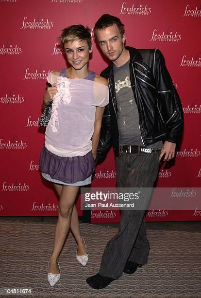 Samaire Armstrong Aaron Paul during Frederick's of Hollywood Red Party at Falcon in Hollywood California United States