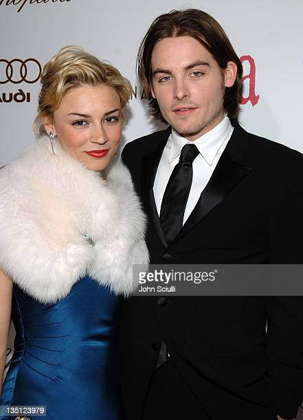 Samaire Armstrong and Kevin Zegers during Audi of America Red Carpet Coverage at 14th Annual Elton John AIDS Foundation Oscar Viewing Party at...