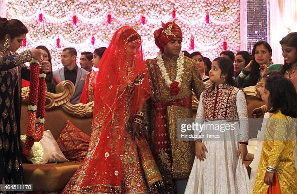 Samajwadi MP Tej Pratap Yadav and Raj Lakshmi during their wedding ceremony at Ashoka Hotel on February 26 2015 in New Delhi India Tej Pratap Yadav...