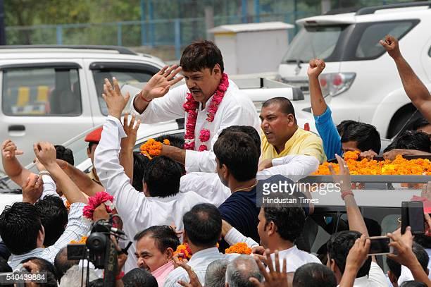 Samajwadi Party activists and workers welcomed newly elected Rajya Sabha MP Surendra Singh Nagar at DND flyover on June 15, 2016 in Noida, India. The...