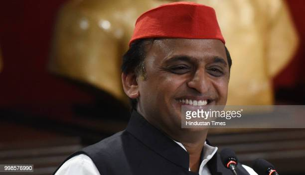 Samajwadi Party Chief Akhilesh Yadav addresses a press conference on 23000crore Purvanchal Express at the party headquarters on July 14 2018 in...