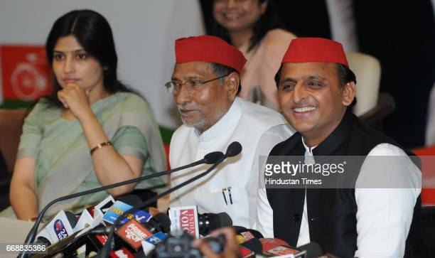 Samajwadi Party Chief Akhilesh Yadav with his wife Dimple Yadav during a launch of the party's threemonth long membership drive at the SP...