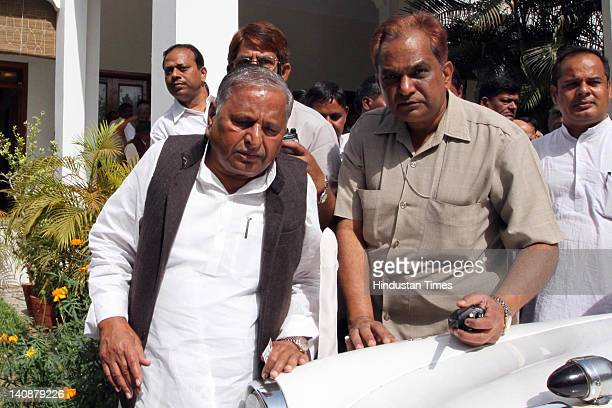 Samajwadi Party chief Mulayam Singh Yadav leaves his residence before the party parliamentary board meeting at the party office on March 7, 2012 in...