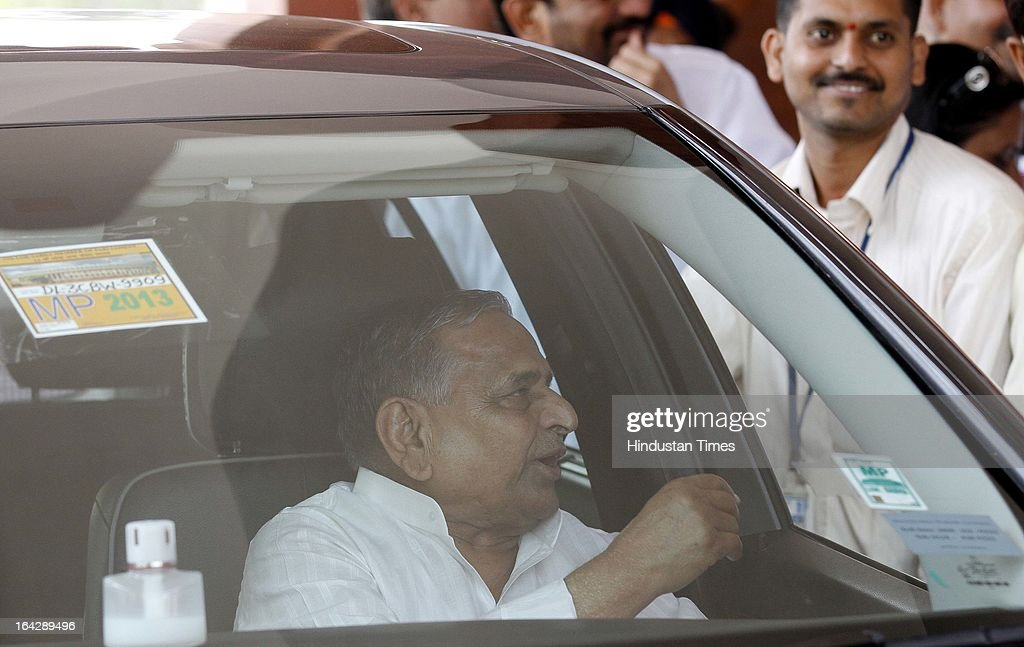 Samajwadi Party Leader Mulayam Singh at Parliament house for ongoing Budget Session on March 22, 2013 in New Delhi, India. The Lok Sabha failed to transact any business for the third consecutive day as proceedings remained paralysed over the Sri Lankan Tamils issue.