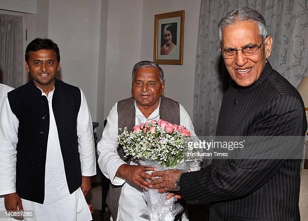 Samajwadi Party leader Mulayam Singh Yadav and his son Akhilesh Yadav meet with Governor of Uttar Pradesh Banwari Lal Joshi at the governor's house...