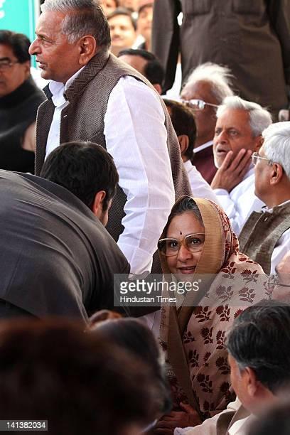 Samajwadi party leader Mulayam Singh Yadav and Jaya Bachchan attend Akhilesh Yadav's oath-taking ceremony as the 33rd chief minister of Uttar Pradesh...