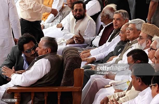 Samajwadi party leader Mulayam Singh Yadav, Communist Party of India leader Prakash Karat, Congress party leader Pawan Bansal, Moti Lal Bohra and...